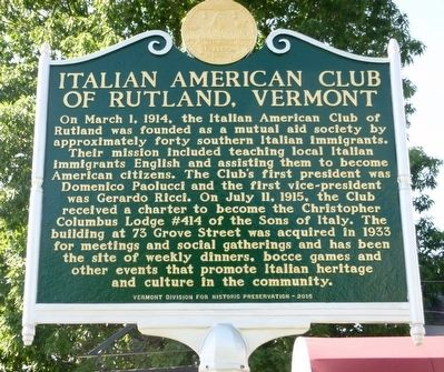 Italian American Club of Rutland, Vermont Marker image. Click for full size.