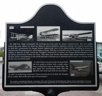 Aviation in Cheyenne (1920-1930s) Marker, reverse image. Click for full size.