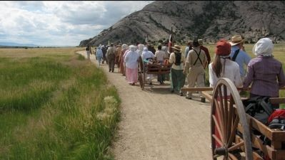 Each summer thousands of youths re-enact the handcart experience. image. Click for full size.
