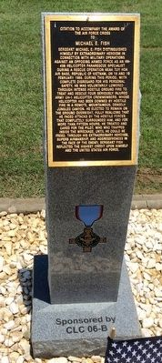 Award of Air Force Cross to Michael E. Fish Marker image. Click for full size.