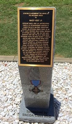 Award of Air Force Cross to Nacey Kent Jr Marker image. Click for full size.
