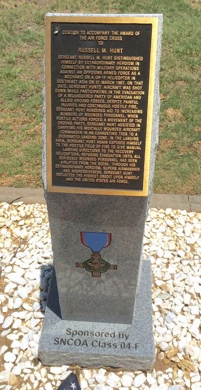 Award of Air Force Cross to Russell M. Hunt Marker image. Click for full size.