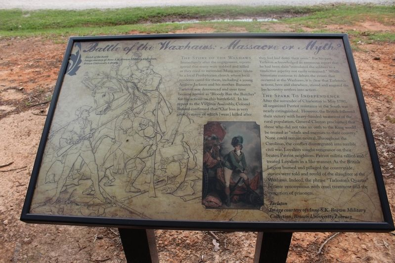 Battle of the Waxhaws: Massacre or Myth? Marker image. Click for full size.