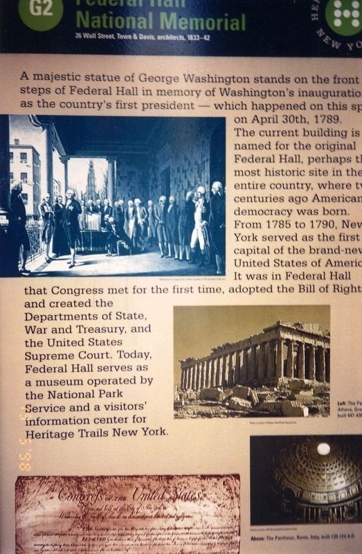Federal Hall National Monument Marker image. Click for full size.