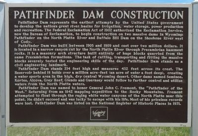Pathfinder Dam Construction Marker image. Click for full size.