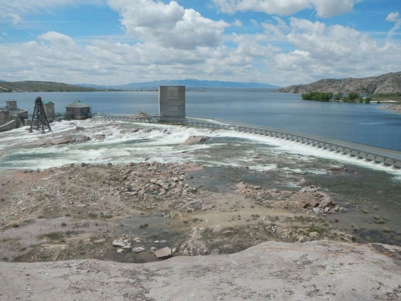 Rare flow of water over the spillway extension image. Click for full size.
