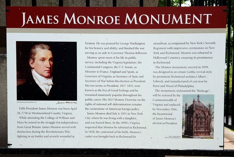 James Monroe Monument Marker image. Click for full size.