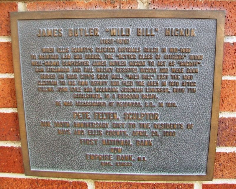 "James Butler ""Wild Bill"" Hickok Marker image. Click for full size."