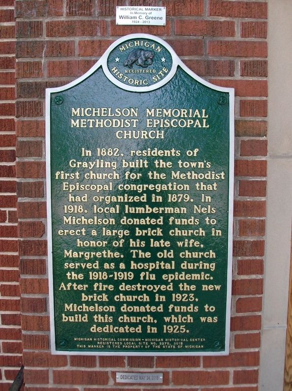 Michelson Memorial Methodist Episcopal Church Marker image. Click for full size.