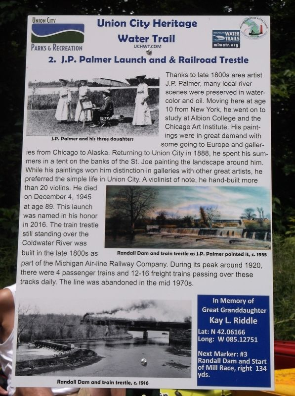 J.P. Palmer Launch and & Railroad Trestle Marker image. Click for full size.