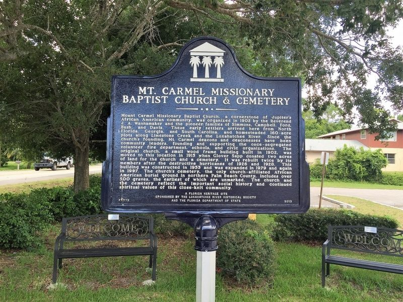 Mt. Carmel Missionary Baptist Church & Cemetery Marker image. Click for full size.