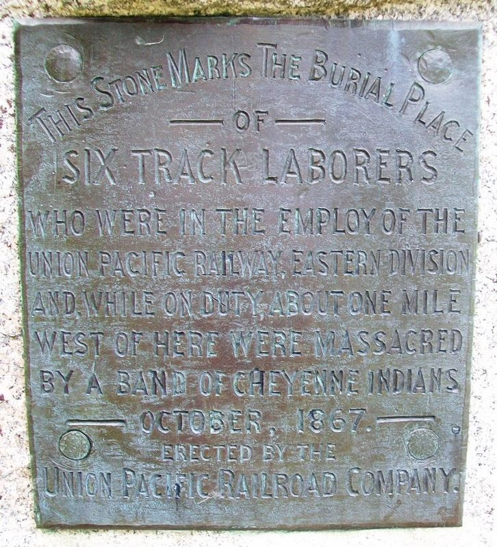 Union Pacific Employees Killed In Cheyenne Indian Raid Marker image. Click for full size.