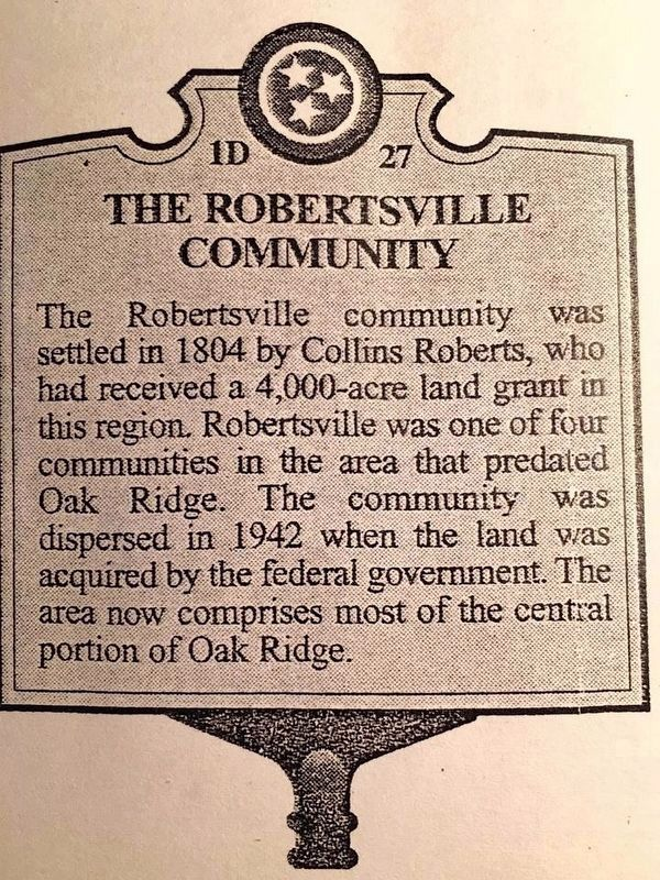 The Robertsville Community Marker image. Click for full size.