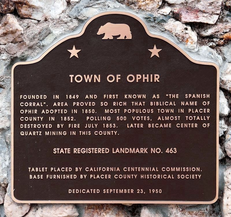 Town of Ophir Marker (Replacement) image. Click for full size.
