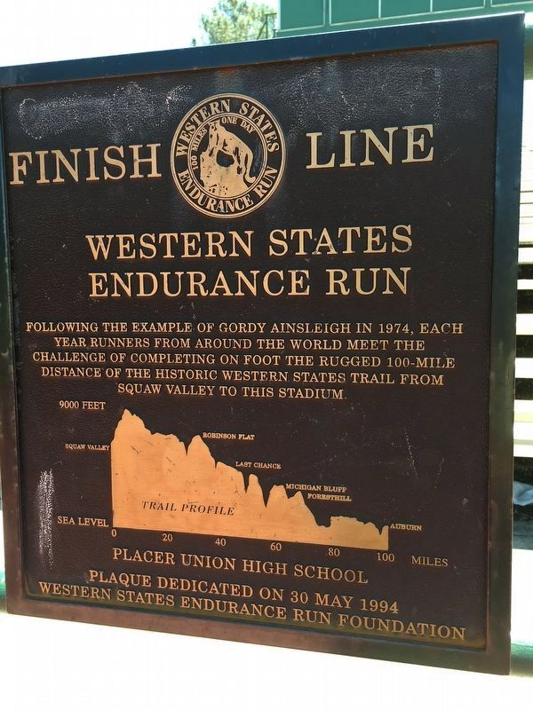 Western States Endurance Run Finish Line Marker image. Click for full size.