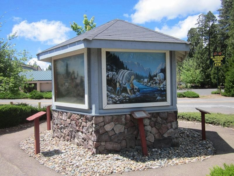 The Mormon Emigrant Trail Marker and Painting Depicting the Event image. Click for full size.