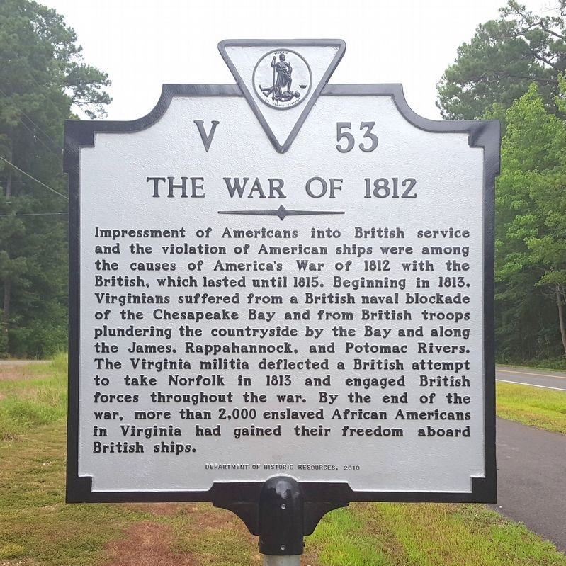 The War of 1812 Marker (obverse) image. Click for full size.