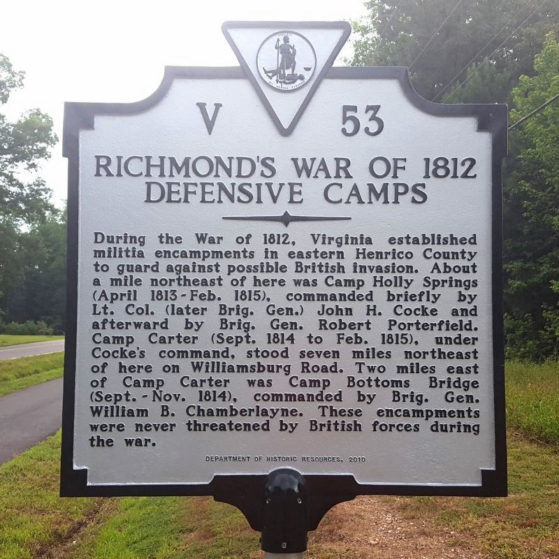 Richmond's War of 1812 Defensive Camps Marker (reverse) image. Click for full size.