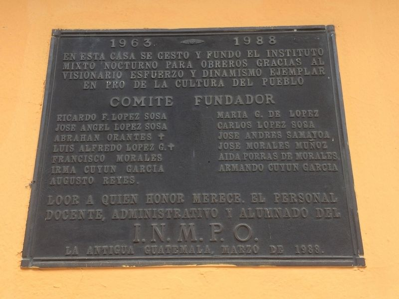 Workers Night School of Antigua Guatemala Marker image. Click for full size.