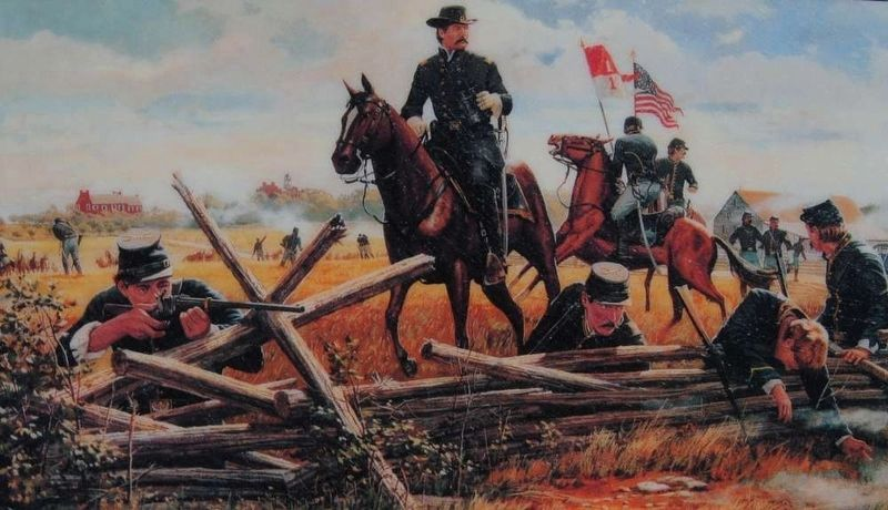 The Cavalry Buys Time Marker<br>Brig. Gen. John Buford and His Union Cavalry Photo, Click for full size
