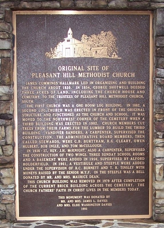 Original Site of Pleasant Hill Methodist Church Marker image. Click for full size.