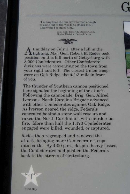 General Rodes Attacks Marker - Main Text image. Click for full size.