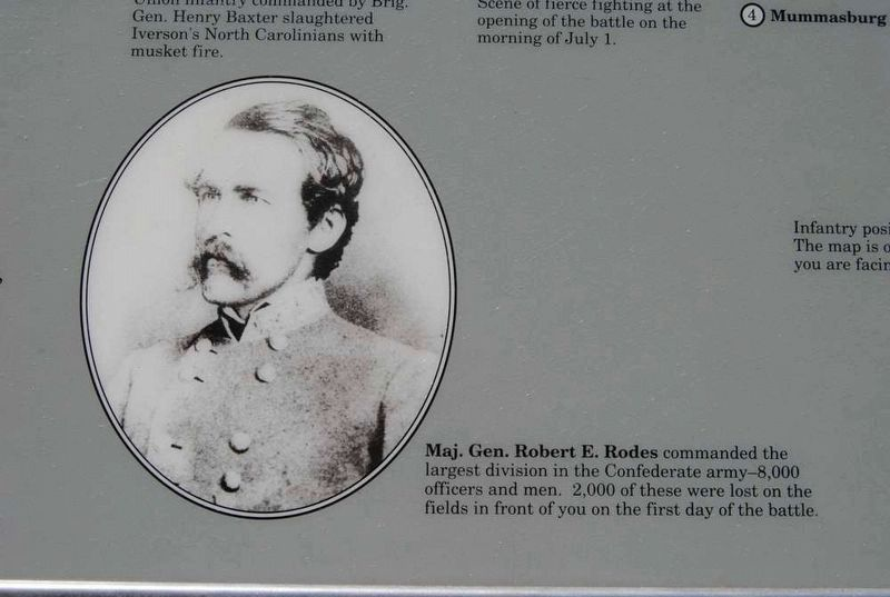 General Rodes Attacks Marker - Maj. Gen. Robert E. Rodes image. Click for full size.