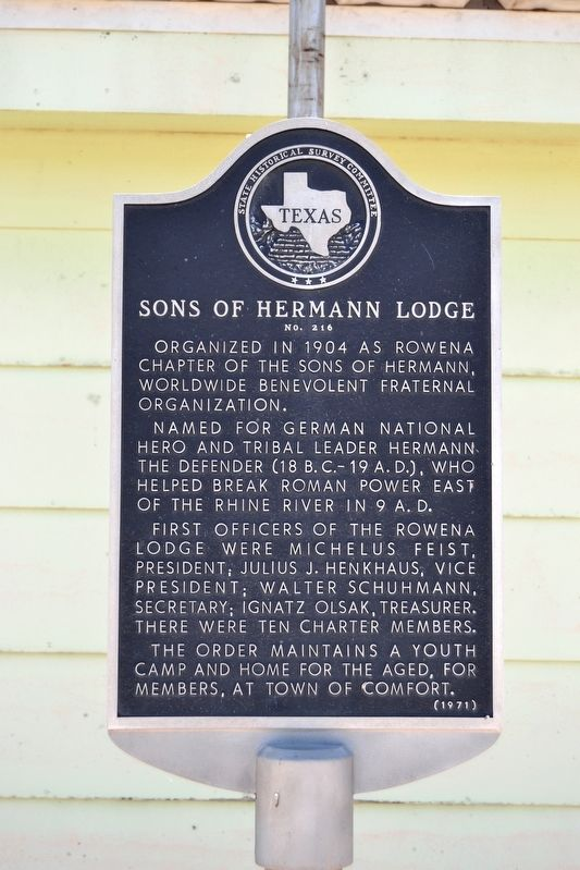 Sons of Hermann Lodge Marker image. Click for full size.