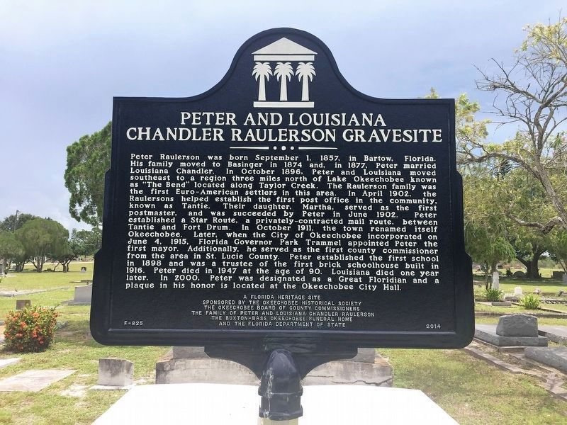 Peter And Louisiana Chandler Raulerson Gravesite Marker image. Click for full size.