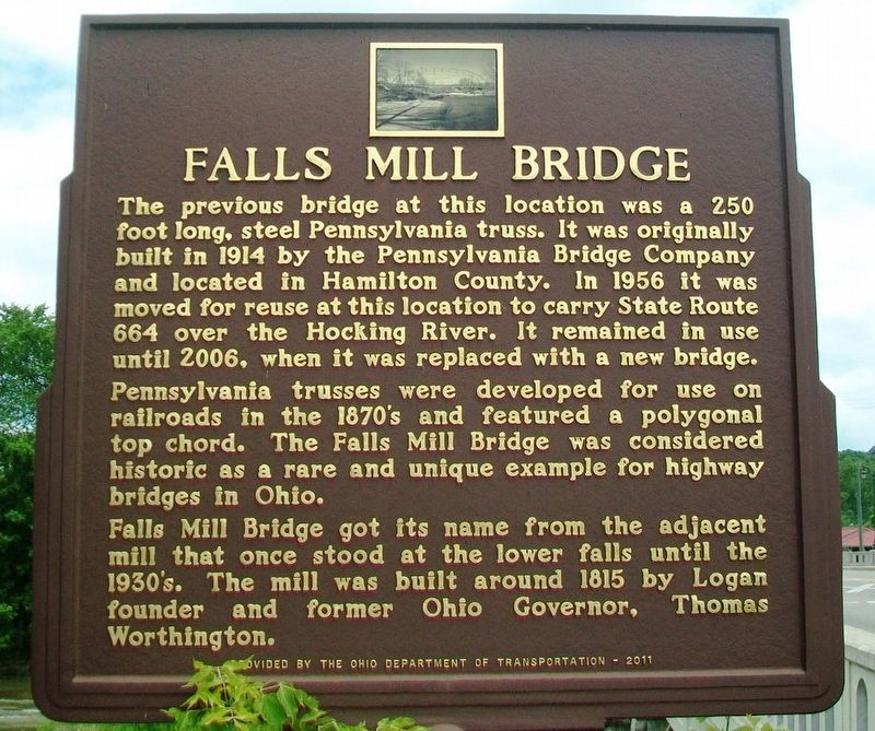Falls Mill Bridge Marker image. Click for full size.