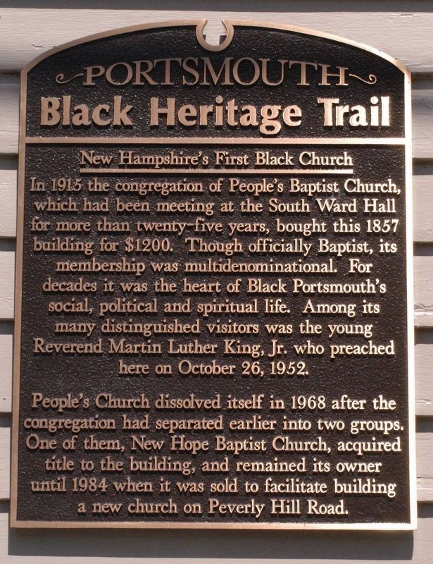 New Hampshire's First Black Church Marker image. Click for full size.