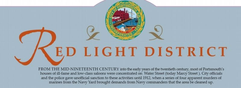 Portsmouth NH Red Light District Marker image. Click for full size.