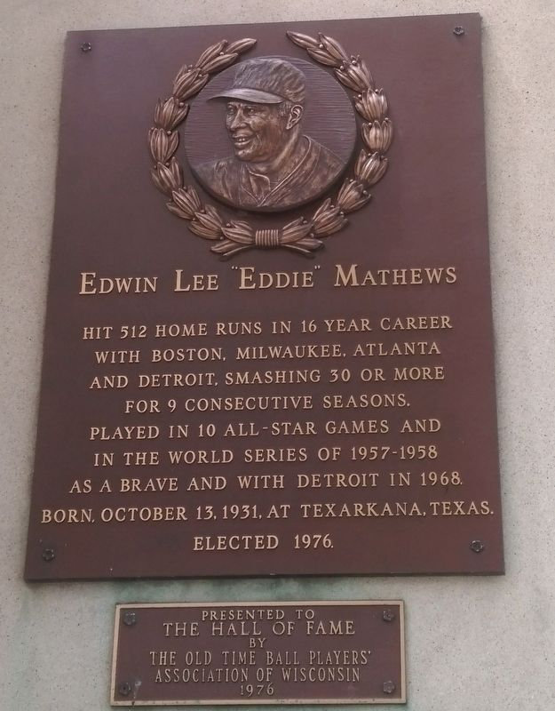 "Edwin Lee ""Eddie"" Mathews Marker image. Click for full size."