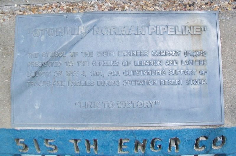 """Stormin' Norman Pipeline"" Marker image. Click for full size."