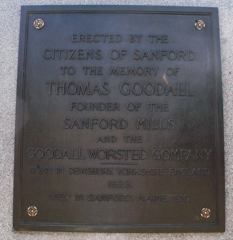 Sanford Maine Thomas Goodall Memorial Marker image. Click for full size.