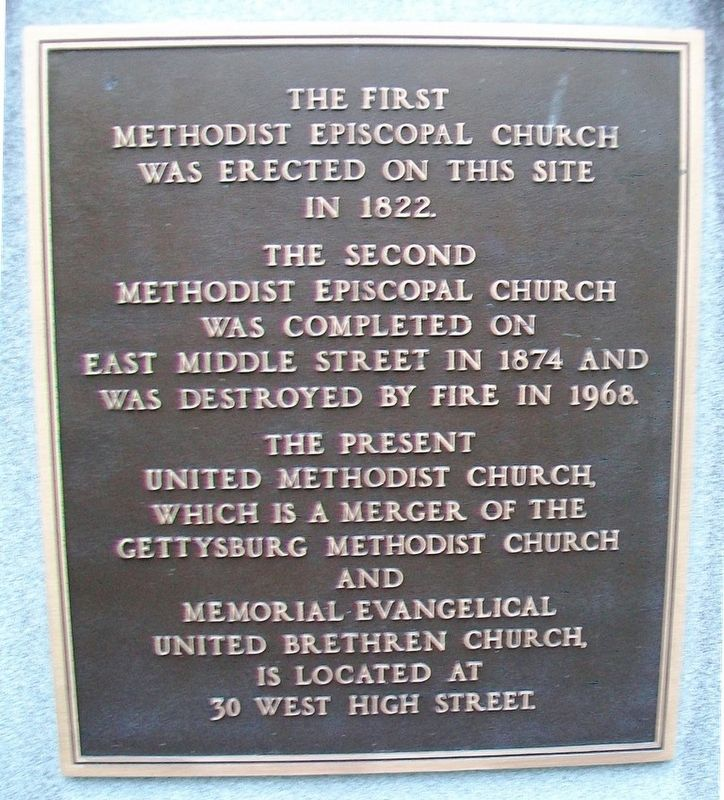 Pioneer Organizers of Methodism in Adams County Marker (back) image. Click for full size.