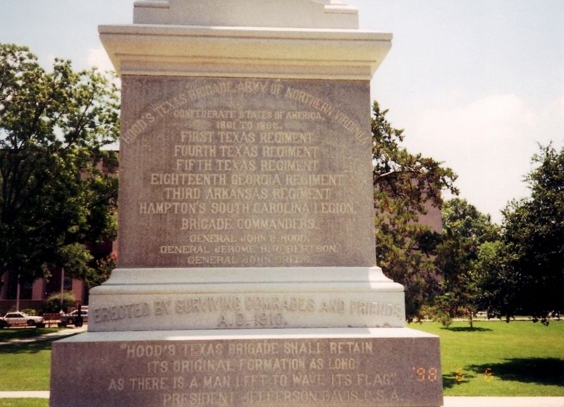 Hood's Texas Brigade Monument Marker image. Click for full size.