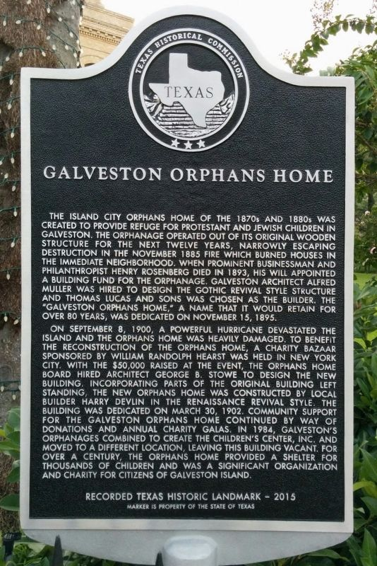 Galveston Orphans Home Marker image. Click for full size.