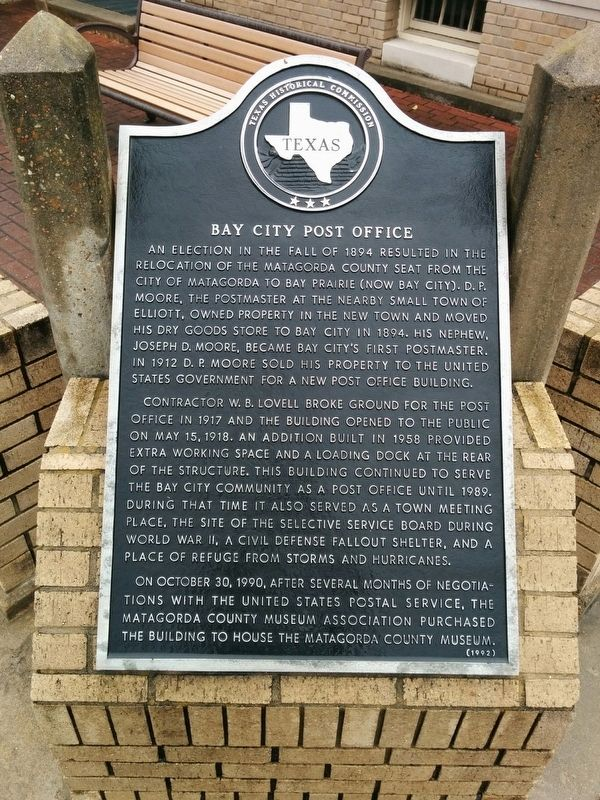 Bay City Post Office Marker image. Click for full size.