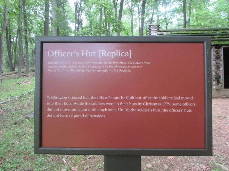 Officer's Hut [Replica] Marker image. Click for full size.