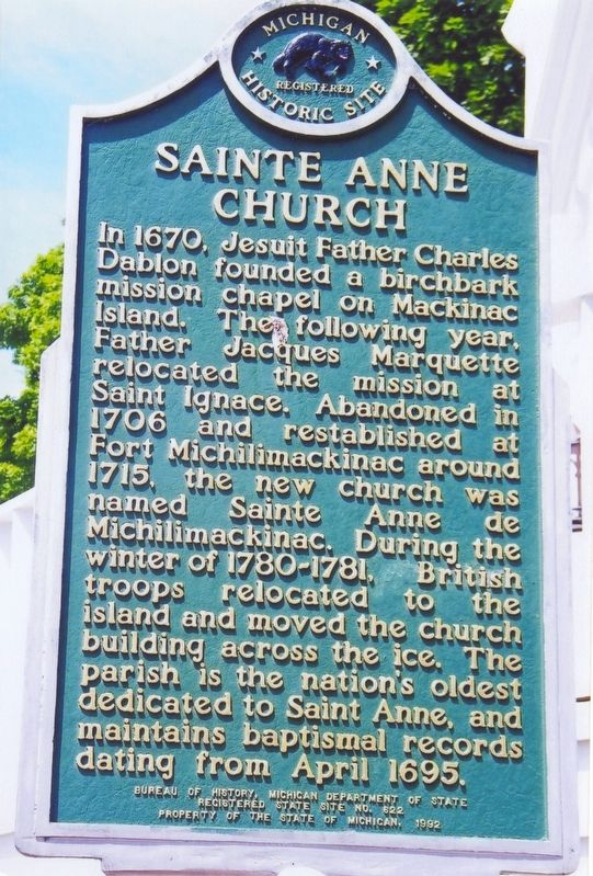 Sainte Anne Church Marker image. Click for full size.