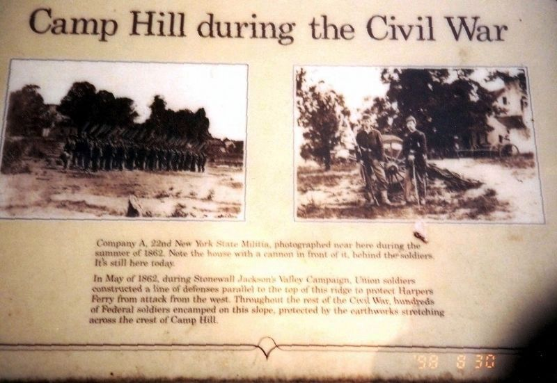 Camp Hill during the Civil War Marker image. Click for full size.