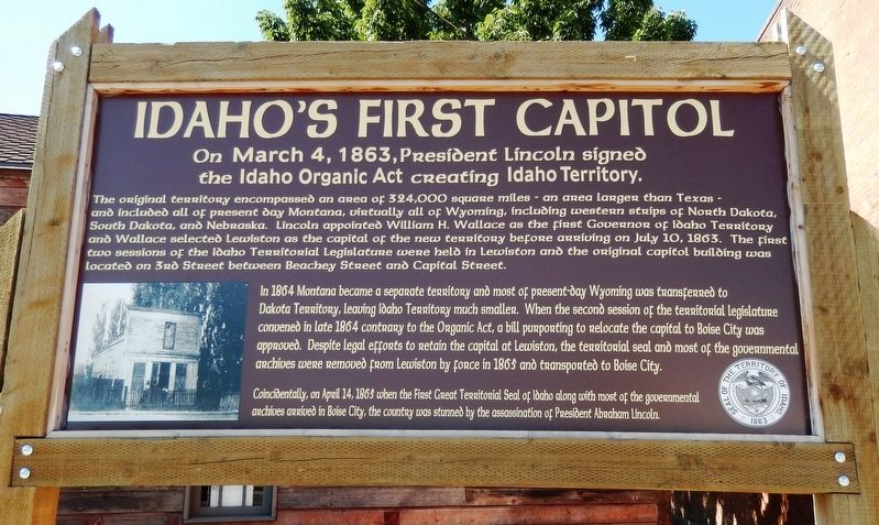 Idaho's First Capitol Marker image. Click for full size.