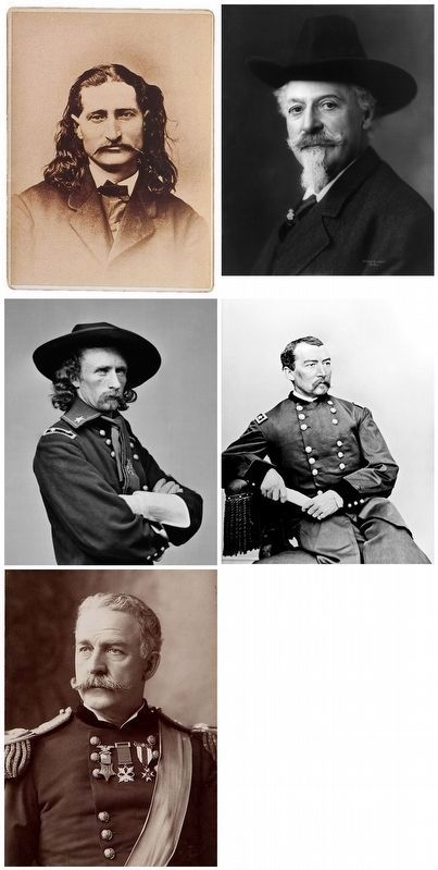 """Wild Bill"" Hickok, ""Buffalo Bill"" Cody, Gen.'s George A. Custer, Phil Sheridan and Nelson A. Miles image. Click for full size."