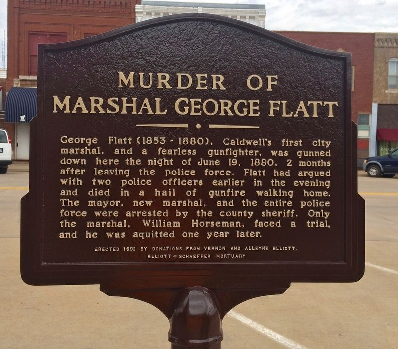 Murder of Marshal George Flatt Marker image. Click for full size.