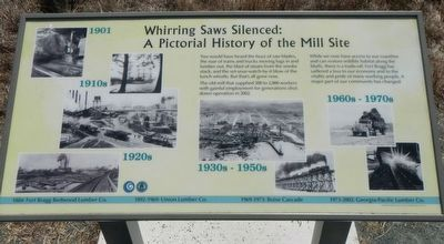 Whirring Saws Silenced: A Pictorial History of the Mill Site Marker image. Click for full size.
