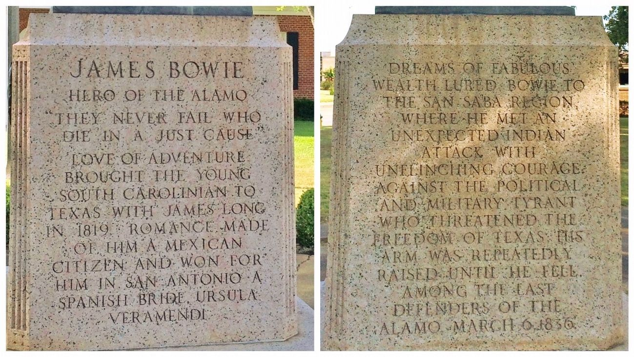 James Bowie statue (front / rear) image. Click for full size.