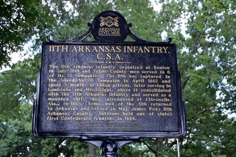 11th Arkansas Infantry, C.S.A. Marker image. Click for full size.