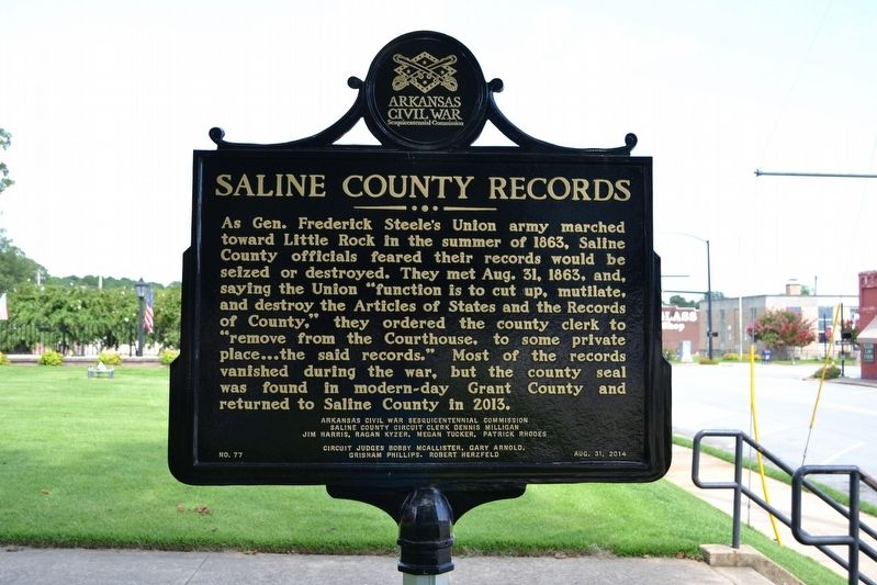 Saline County Records Marker image. Click for full size.