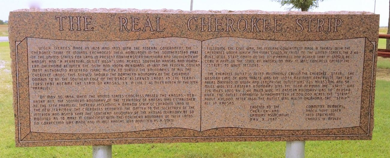 "The ""Real"" Cherokee Strip Marker image. Click for full size."